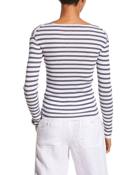 Image 3 of 4: Vince Striped Rib Boat-Neck Top