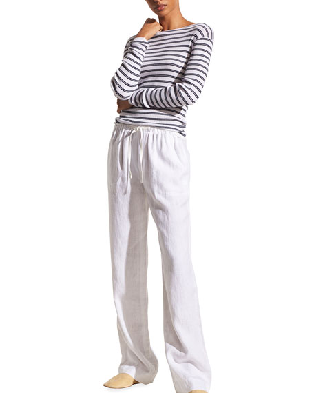 Image 4 of 4: Vince Striped Rib Boat-Neck Top