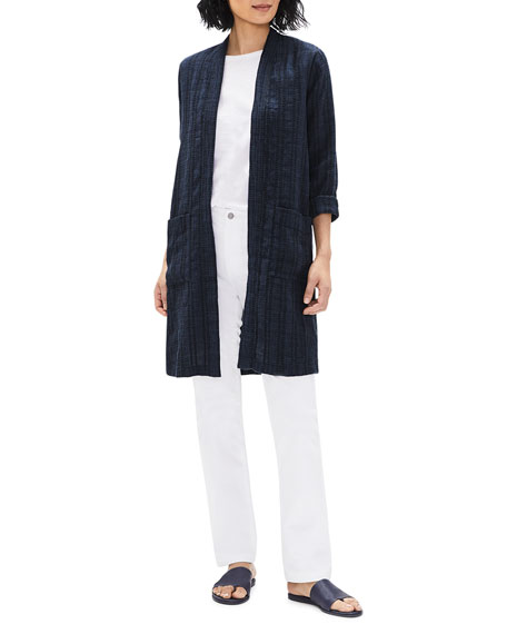 Image 2 of 3: Eileen Fisher Textured Stripe Long Organic Linen Jacket