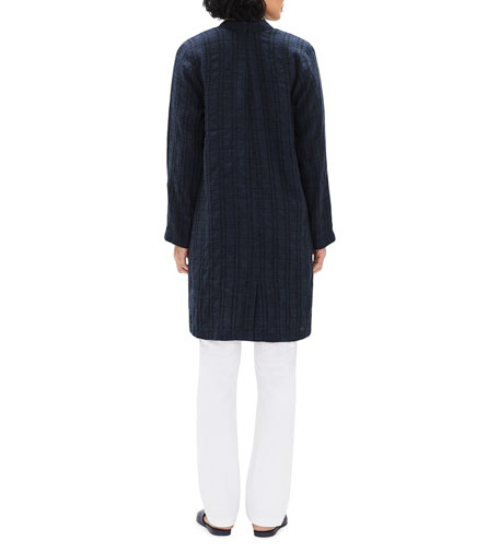 Image 3 of 3: Eileen Fisher Textured Stripe Long Organic Linen Jacket