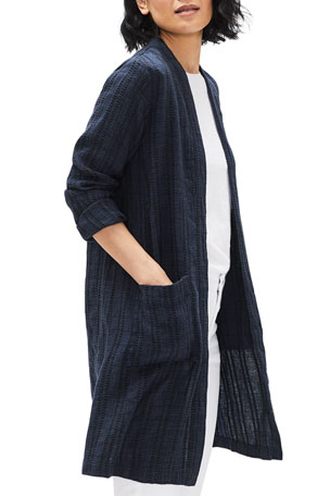 Eileen Fisher Textured Stripe Long Organic Linen Jacket