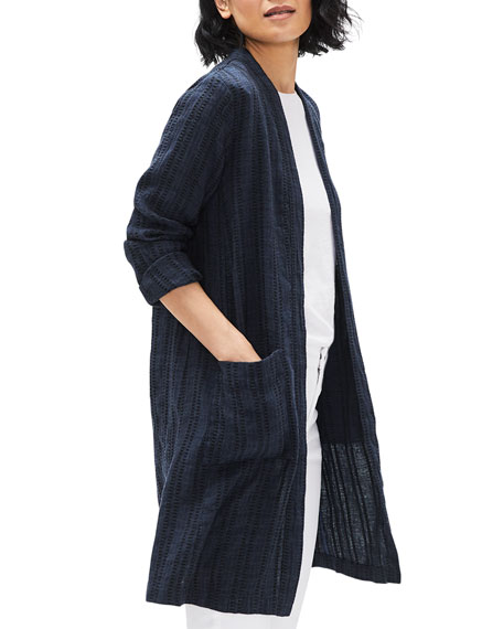 Image 1 of 3: Eileen Fisher Textured Stripe Long Organic Linen Jacket