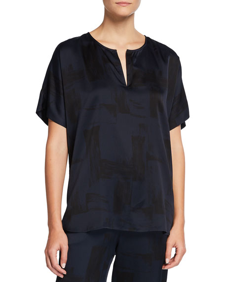 Image 1 of 2: Eileen Fisher Brushstroke Silk-Organic Cotton Shirt