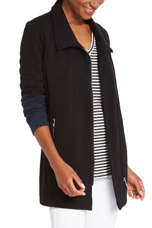 NIC+ZOE Take Charge Zip-Front Contrast Sleeve Jacket