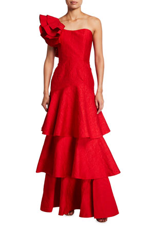 Mestiza New York Torrero One-Shoulder Tiered Damasque Gown