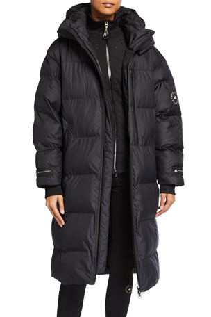 adidas by Stella McCartney Long Puffer Jacket w/ Removable Hood