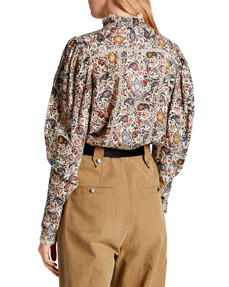 Image 2 of 2: Etoile Isabel Marant Reafi Paisley High-Neck Blouse with Lace