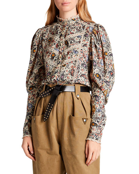 Image 1 of 2: Etoile Isabel Marant Reafi Paisley High-Neck Blouse with Lace