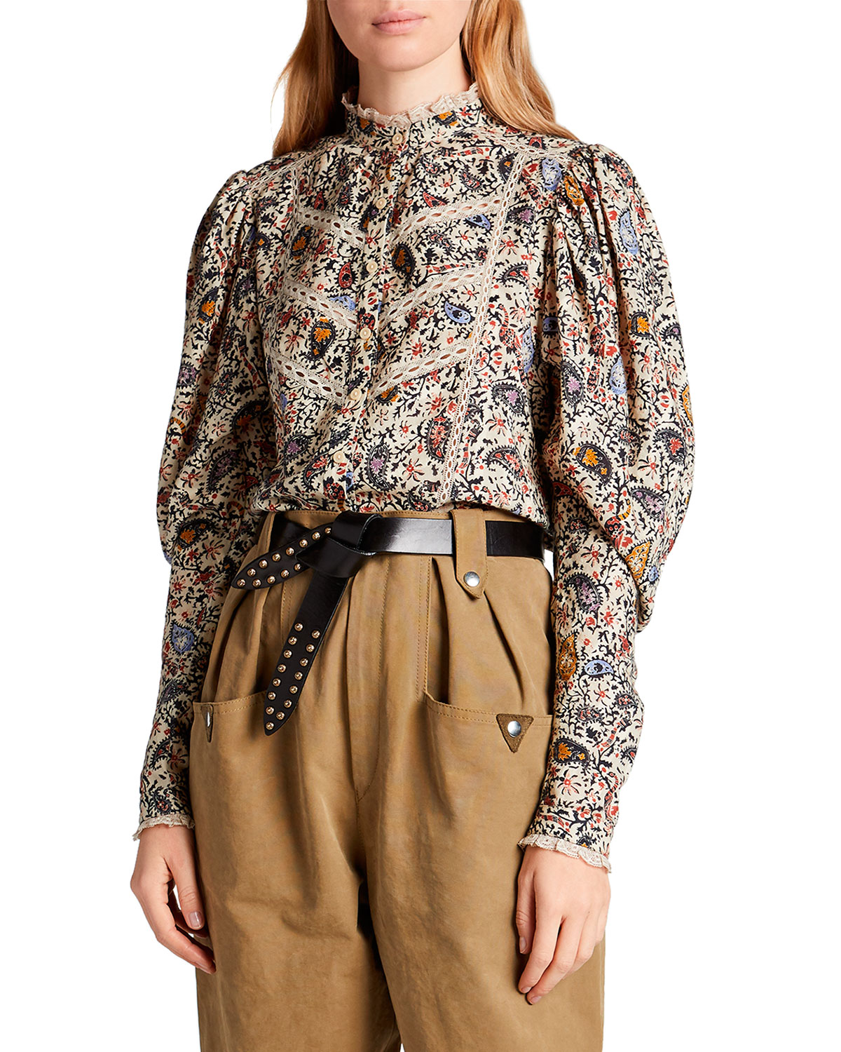 Etoile Isabel Marant Reafi Paisley High-Neck Blouse with Lace