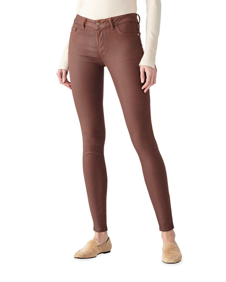 Image 1 of 2: DL1961 Premium Denim Emm Low-Rise Skinny Coated Jeans