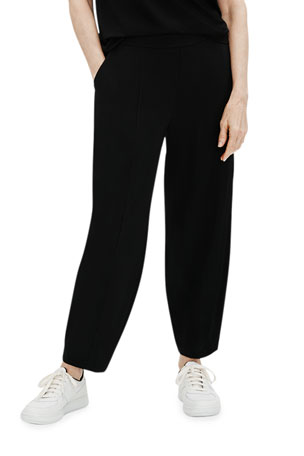 Eileen Fisher Plus Size Organic Cotton Stretch Lantern Ankle Pants w/ Pockets