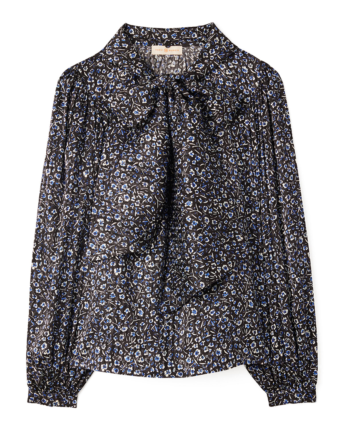Tory Burch Floral Printed Stretch Silk Bow Blouse