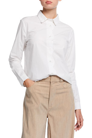 Ganni Ricrac Placket Cotton Poplin Shirt