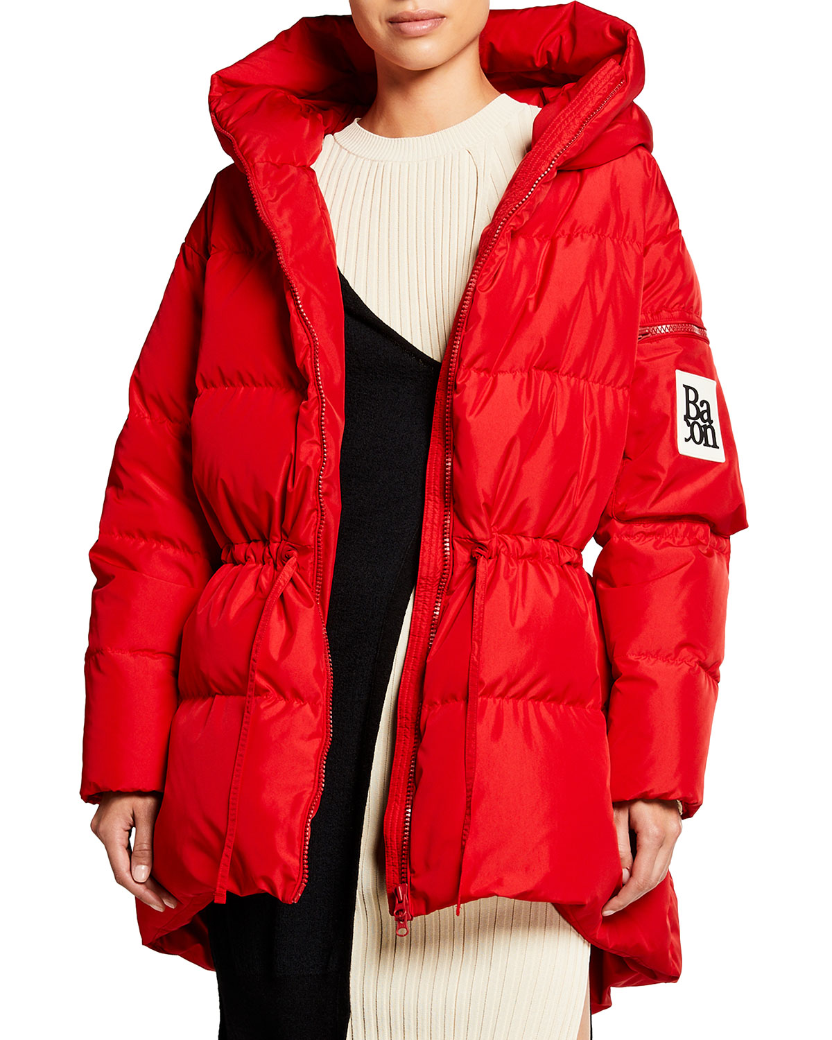 Bacon Cloud Mid-Length Red Puffer Coat