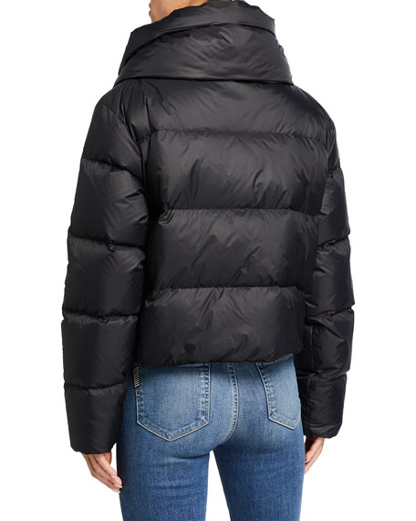 Image 3 of 3: Bacon Double-Collar Short Puffer Jacket