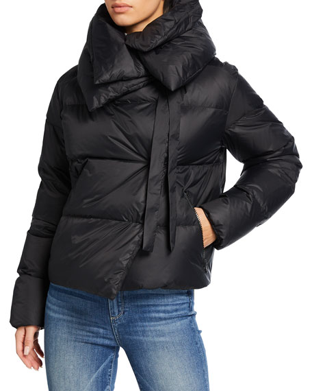 Image 1 of 3: Bacon Double-Collar Short Puffer Jacket