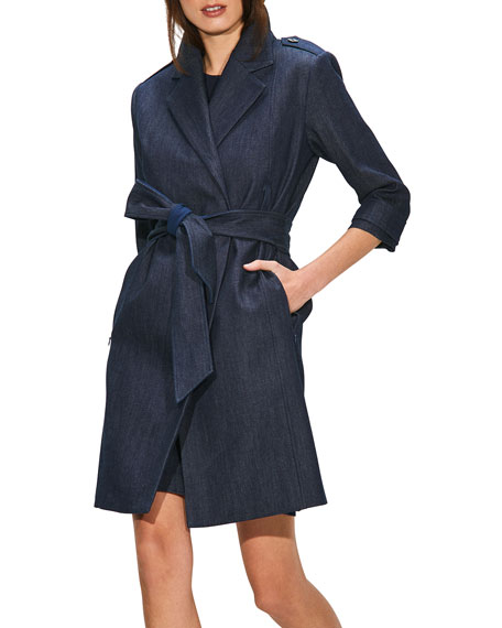 Image 3 of 3: Toccin Double-Breasted Denim Trench Coat