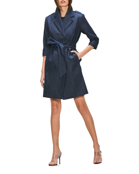 Image 1 of 3: Toccin Double-Breasted Denim Trench Coat