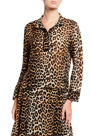 Ganni Leopard Printed Georgette Long-Sleeve Blouse