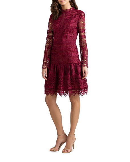 Image 2 of 3: Shoshanna Alycia Mosaic Tile Lace High-Neck Dress