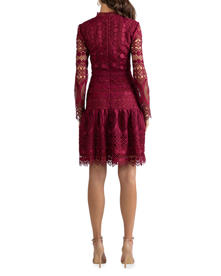 Image 3 of 3: Shoshanna Alycia Mosaic Tile Lace High-Neck Dress