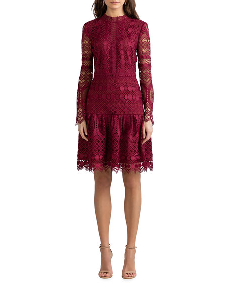 Image 1 of 3: Shoshanna Alycia Mosaic Tile Lace High-Neck Dress