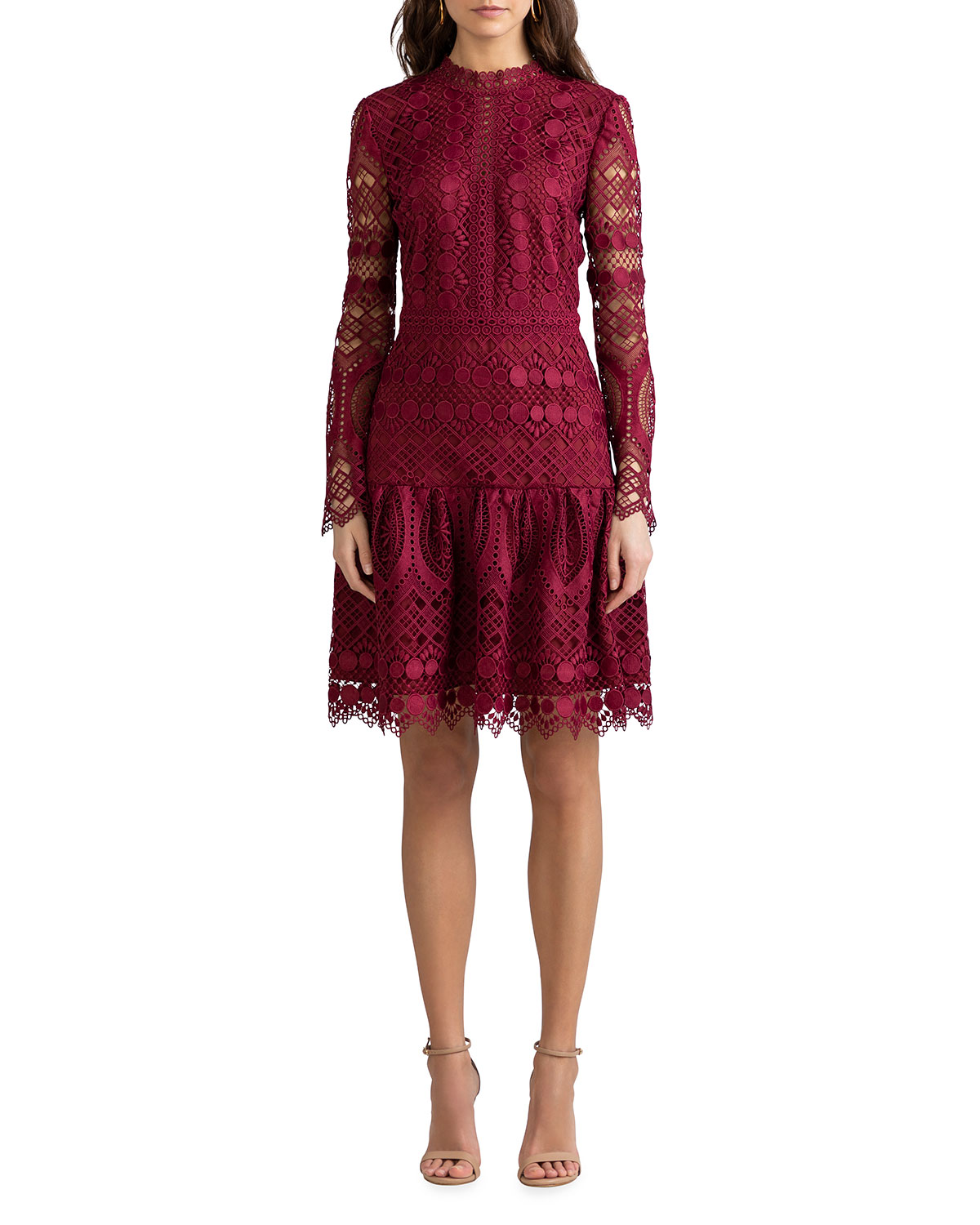 Shoshanna Alycia Mosaic Tile Lace High-Neck Dress