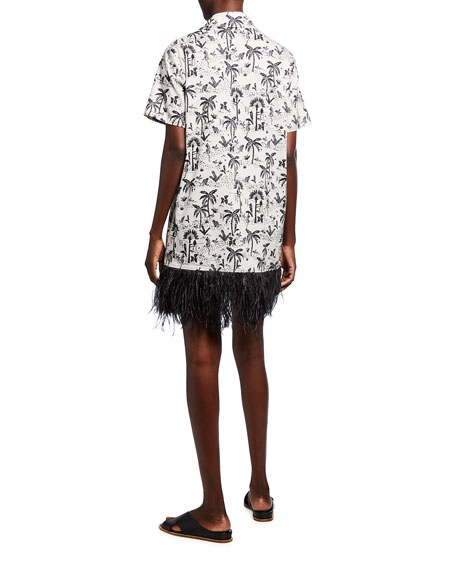 Image 2 of 2: Le Superbe Imperial Palm-Print Dress with Feather Trim
