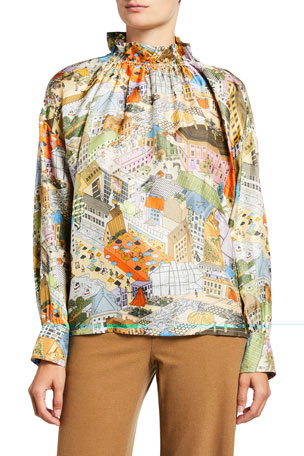 Stine Goya Ines City Print Silk Top