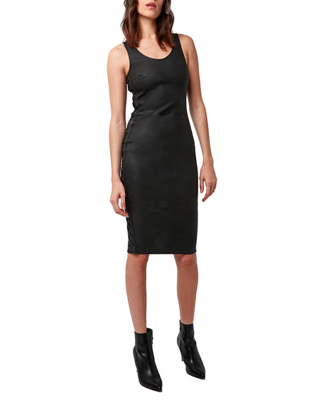 Image 2 of 4: AS by DF Dita Stretch Leather Lace-Up Dress