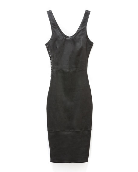 Image 4 of 4: AS by DF Dita Stretch Leather Lace-Up Dress