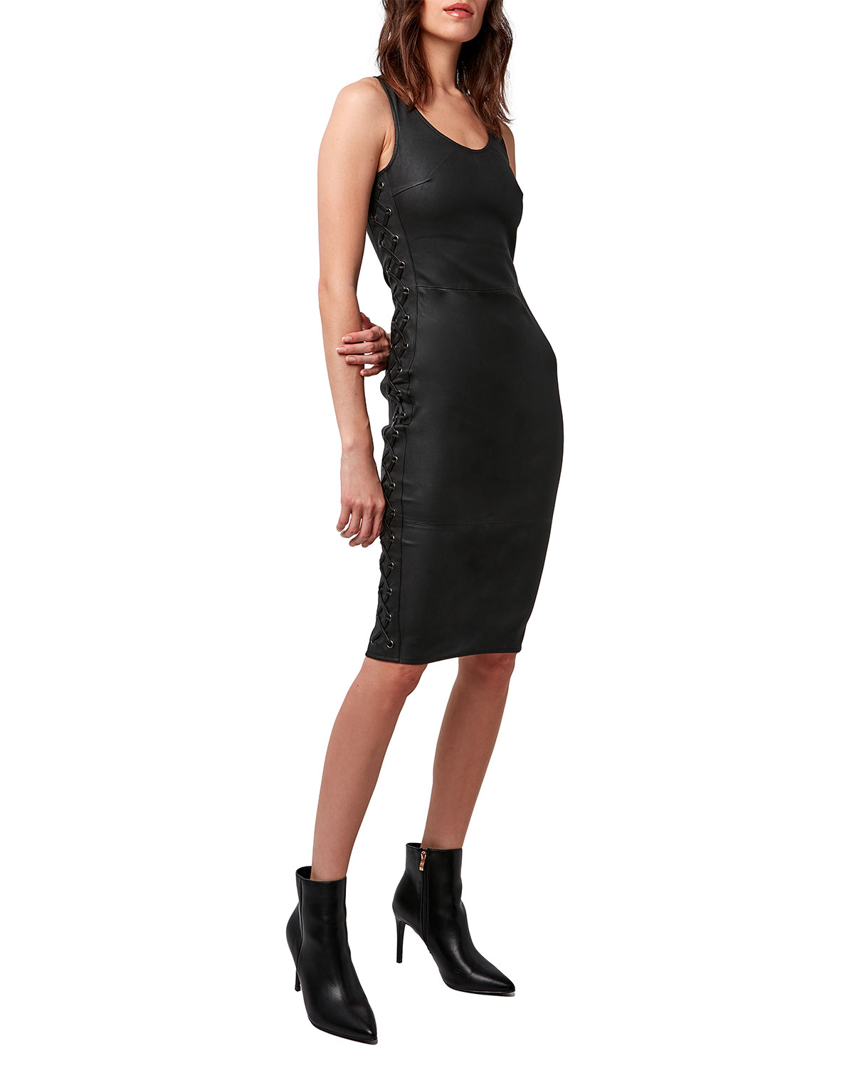 AS by DF Dita Stretch Leather Lace-Up Dress