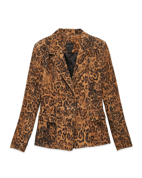 Image 3 of 3: AS by DF All Hail The Queen Leopard Leather Blazer