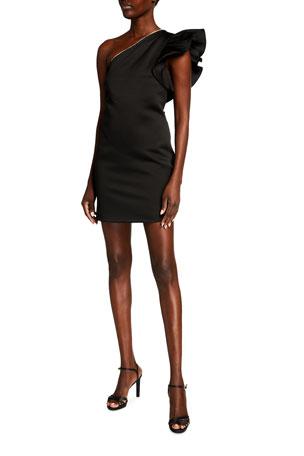 Jay Godfrey Calgary Ruffled One-Shoulder Mini Dress