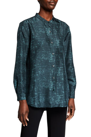 Eileen Fisher Plus Size Abstract Printed Mandarin Collar Long-Sleeve Shirt