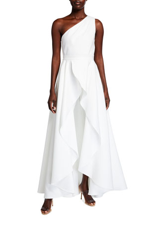 Jay Godfrey Orlando One-Shoulder Cropped Jumpsuit w/ Overskirt