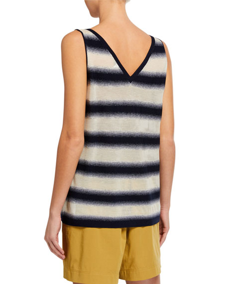 Image 2 of 2: Lafayette 148 New York V-Neck Finespun Voile Sheer Striped Tank
