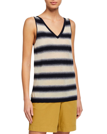 Image 1 of 2: Lafayette 148 New York V-Neck Finespun Voile Sheer Striped Tank