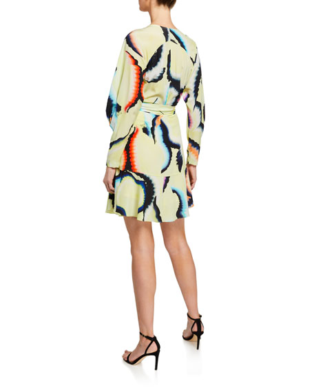 Image 2 of 2: A.L.C. Enzo Printed Flounce Wrap Dress