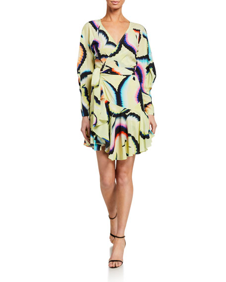 Image 1 of 2: A.L.C. Enzo Printed Flounce Wrap Dress