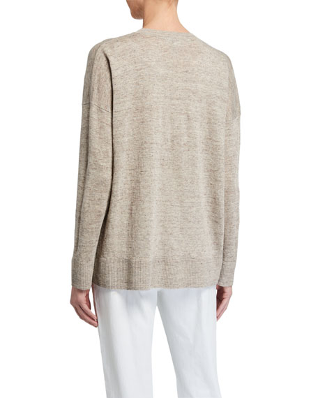 Image 2 of 2: V-Neck Organic Linen Boxy Sweater