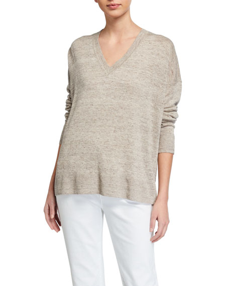 Image 1 of 2: V-Neck Organic Linen Boxy Sweater