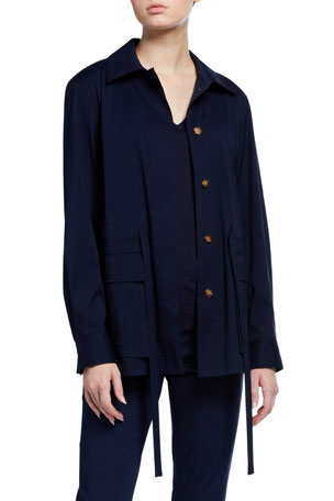 Lafayette 148 New York Connery Stretch Cotton Button-Front Jacket