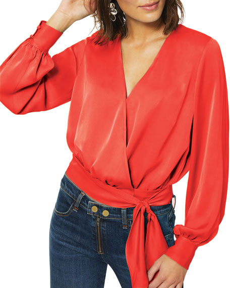 Image 2 of 3: Ramy Brook Analiese Long-Sleeve Wrap Top