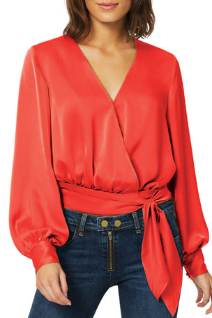 Ramy Brook Analiese Long-Sleeve Wrap Top