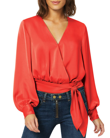 Image 1 of 3: Ramy Brook Analiese Long-Sleeve Wrap Top