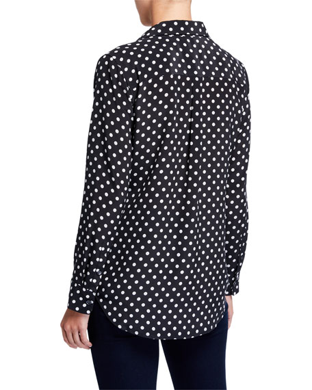 Image 2 of 3: Equipment Dot-Print Button-Front Silk Slim Signature Shirt