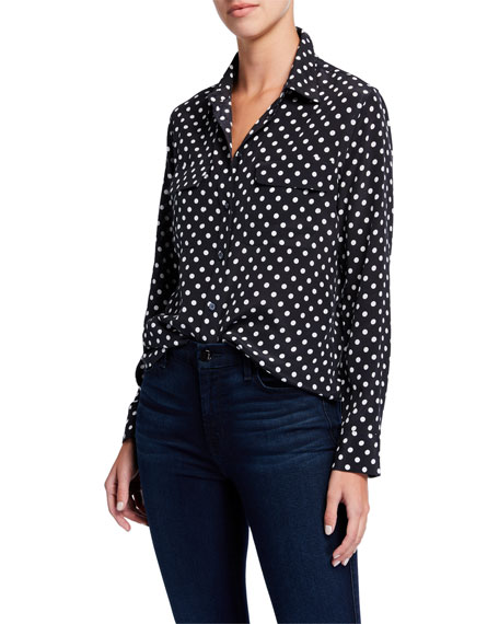 Image 1 of 3: Equipment Dot-Print Button-Front Silk Slim Signature Shirt