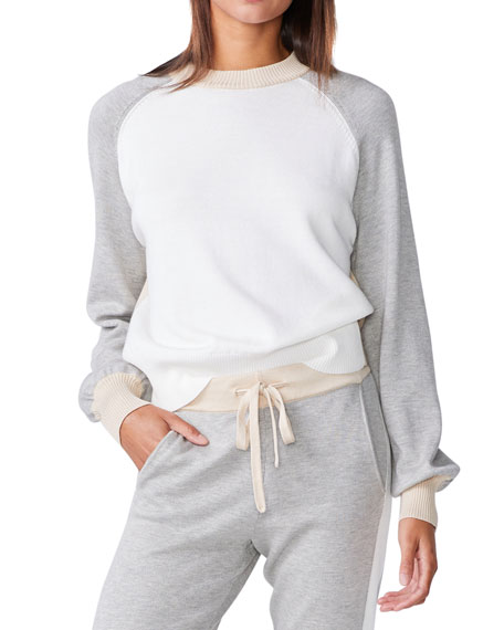 Image 1 of 2: Monrow Colorblock Mock-Neck Sweater