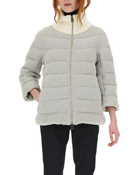 Image 2 of 3: Herno Bilbao Knit Adjustable Collar Short Coat